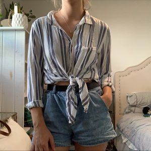 American Eagle Oversized Fit Striped Shirt